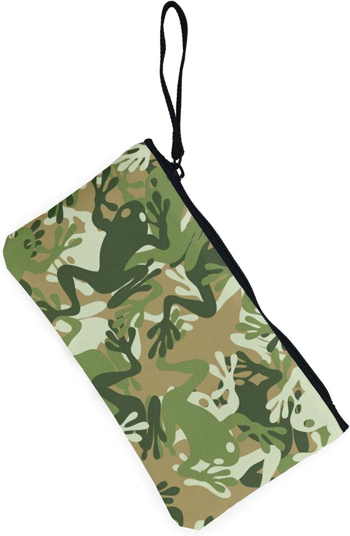 AORRUAM Frog camouflage Canvas Coin Purse,Canvas Zipper Pencil Cases,Canvas Change Purse Pouch Mini Wallet Coin Bag
