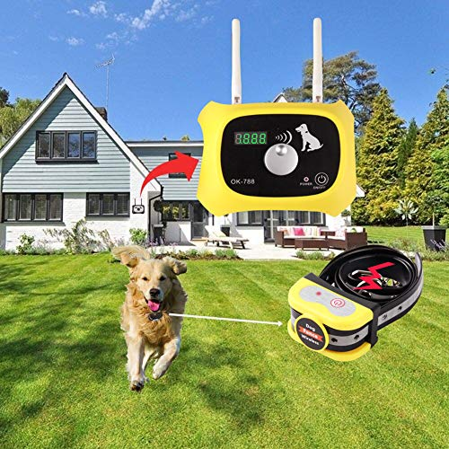 JUSTPET Wireless Dog Fence Electric Pet Containment System, Adjustable Control Range 1000 Feet, Wireless Fence Dog Boundary Container, Waterproof Rechargeable Collar Receiver