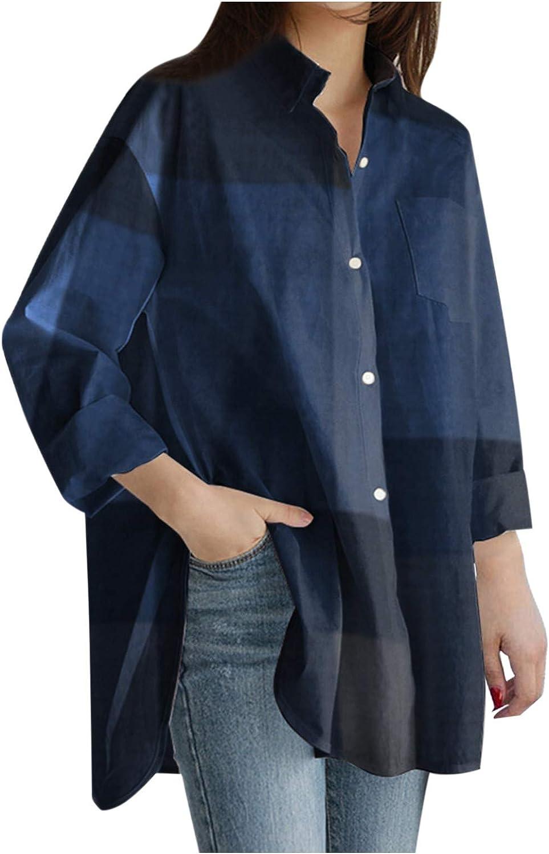 F_topbu Button Down Shirt for Women, Pocket Long Sleeve Tops Denim Asymmetrical Blouse Casual Loose Tunic Top Shirt