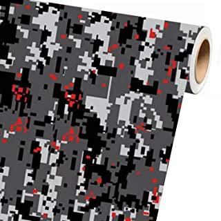 Sky Auto INC Digital Grey RED Camouflage Vinyl Car Wrap Film Sheet + Free Cutter, Cleaning Cloth, Scissors & Squeegee (1ft x 5ft / 12