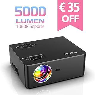 Proyector WiMiUS 5000 Lúmenes Proyector de Cine en Casa Full HD Soporta 1080P Audio Hi-Fi Pantalla de 200 Mini Vídeo Proyector portátil LED 60000 Horas para TV Stick/ PS4/ PC/ HDMI/ VGA/ AV/ USB
