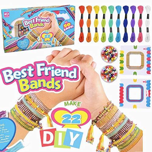meiruier Pulsera de niños DIY,Kit de Cuentas de Cuerdas Coloridas para Hacer Pulseras para niñas Kit de Pulsera de Amistad para niños con 10 Colores de Hilo de algodón de Colores (Blue)