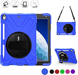 BRAECN iPad Pro 10.5 Case 2017, iPad Air 3rd Gen Case 2019,Ultra Protective Shock-Absorbing Rugged Case Cover with Rotating Hand Strap/Kickstand, Detachable Shoulder Strap and Pencil Holder-Blue