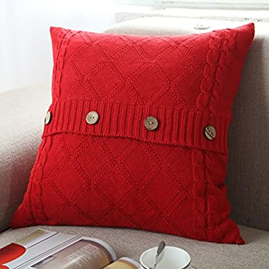 U'Artlines Cotton Knitted Decorative Pillow Case Cushion Cover Cable Knitting Patterns Square Warm Throw Pillow Covers (Red, 18x18)