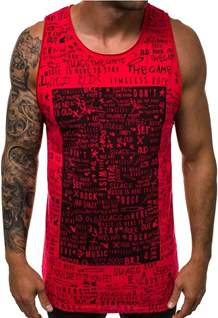Landscap Men Tank Tops Sleeveless T-Shirts Graphic Tank Tops Casual Fitness Vest Undershirts Workout Muscle Tees