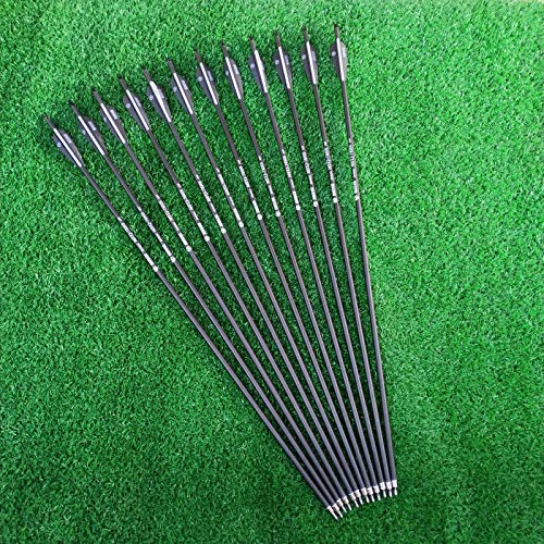 Sososhoot 12Pcs Archery 28' Carbon Arrows 2.95' Feather Spine 500 Hunting Arrows for Compound Bow Recurve Bow