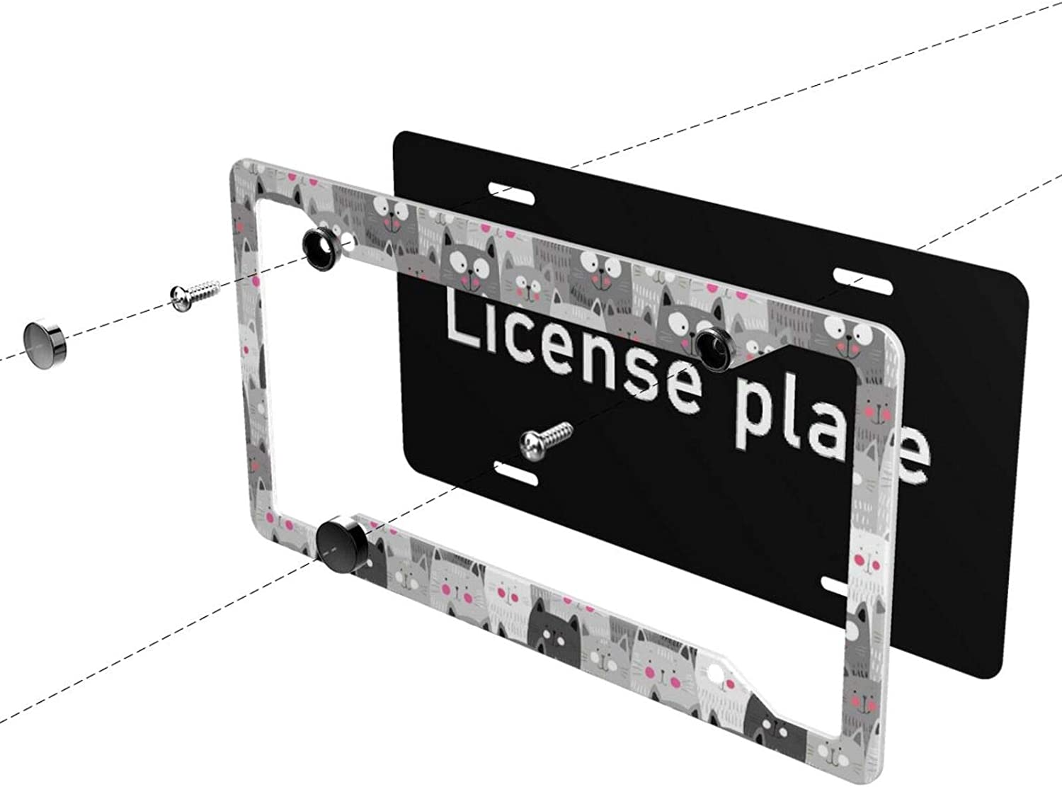 Tianheyue 2Pack Car License Plate Frames,Baby Sloth Flowers Aluminum Car Accessories with 4 Holes and Screws