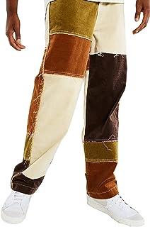 Huazong - Pantaloni da uomo in denim a gamba dritta, in cotone, elasticizzati, resistenti, per lavoro