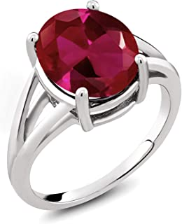 925 Sterling Silver Red Created Ruby Women's Ring (5.00 Ct, Oval 12X10MM, Available 5,6,7,8,9)