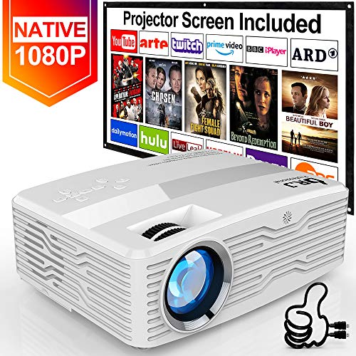 Best Deals! [Native 1080P Projector] DR. J Professional 6800Lumens LCD Projector Full HD Projector 3...