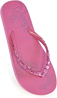 Ladies Girls Summer Beach Flip Flop Pool Shoes with Jeweled Diamante Straps