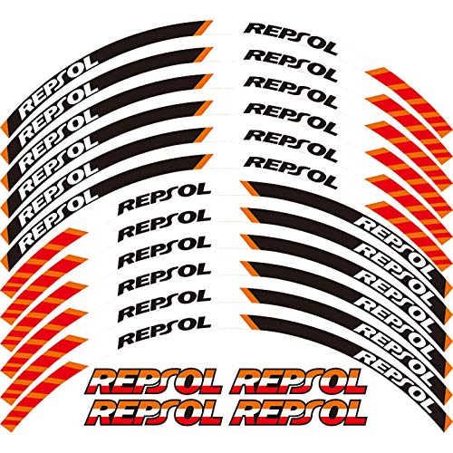 2D Printing 17 Inch Rim Motorcycle Front&Rear Edge Outer Rim Sticker Wheel Decals Waterproof Stickers For HONDA REPSOL HRC CBRRR (Orange)