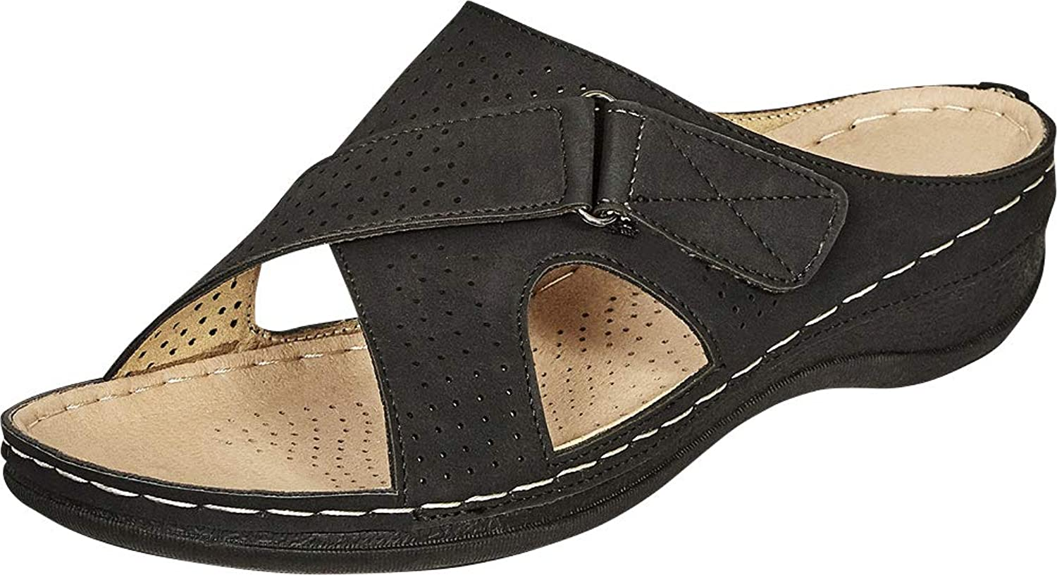 Cambridge Select Women's Open Toe Perforated Slip-On Comfort Flat Slide Sandal