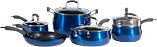 Epicurious Cookware Collection- Dishwasher Safe Oven Safe, Nonstick Aluminum 11 Piece Arctic Blue Cookware Set