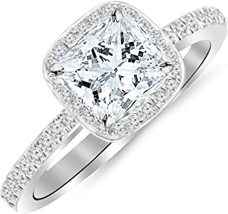 0.75 Ctw Princess Cut Cushion Halo 14K White Gold Diamond Engagement Ring (D-E Color VS2-SI1 Clarity 0.5 Ct Center)