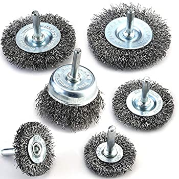 TILAX Wire Brush Wheel Cup Brush Set 6 Piece Wire Brush for Drill 1/4 Inch Arbor 0.012 Inch Coarse Carbon Steel Crimped Wire Wheel for Cleaning Rust Stripping and Abrasive for Drill Attachment