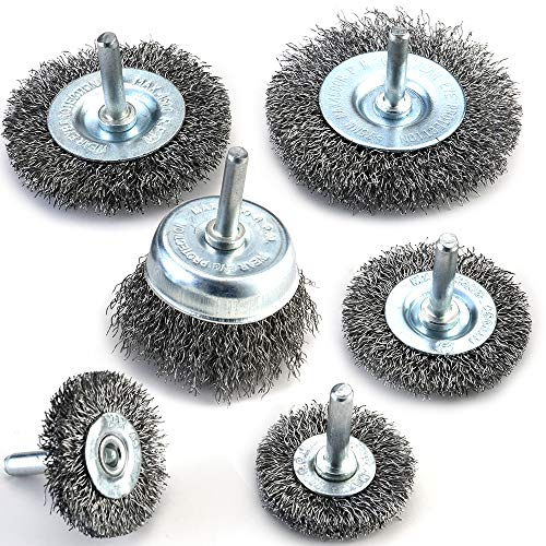 TILAX Wire Brush Wheel Cup Brush Set 6 Piece, Wire Brush for Drill 1/4 Inch Arbor 0.012 Inch Coarse Carbon Steel Crimped Wire Wheel for Cleaning Rust, Stripping and Abrasive, for Drill Attachment