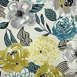 Kt KILOtela Tela de loneta Estampada - Retal de 300 cm Largo x 280 cm Ancho   Flores Modernas - Amarillo Mostaza, Azul, Gris ─ 3 Metros