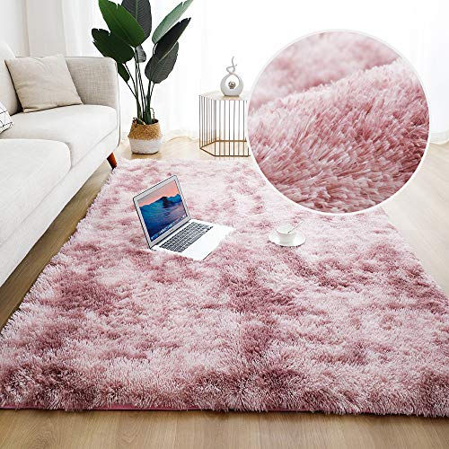 5x8 Pink Purple Modern Home Decorate Area Rugs for Living Room, Bedroom, Bathroom, Fluffy Indoor Carpet