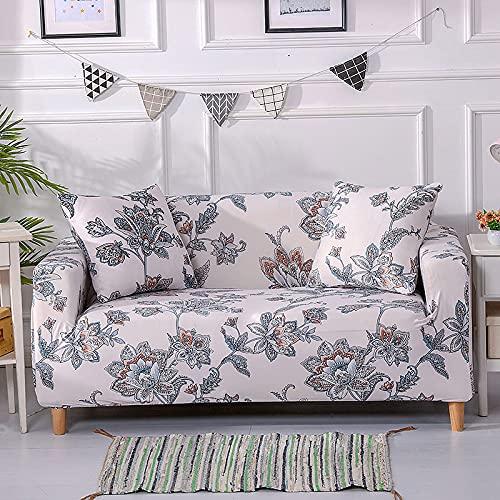 AHKGGM Funda de sofá Estampada Flores de Color Rosa pálido y Gris 3 plazas: 190-230cm