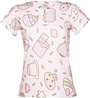 Pusheen Official Women's Sweet Treats Pink Short Sleeved T-Shirt