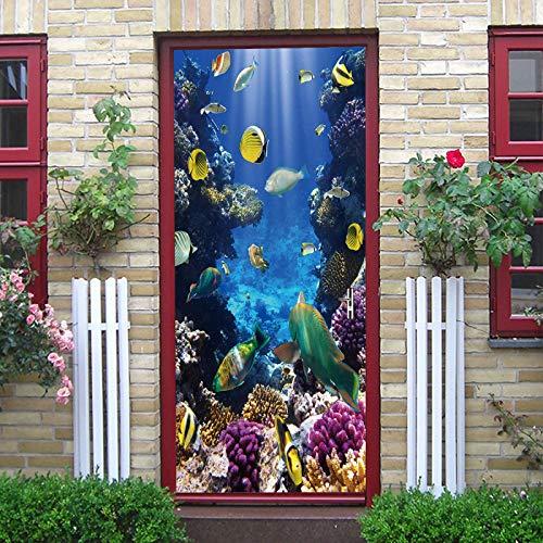 JYXJJKK 3D Photo Wallpaper Door Sticker Underwater world small fish coral 88x200 cm Living Room Creative Toilet Kids Girls Self Adhesive Children Boys wall art Office Decals Door Sticker Vinyl Diy Bed