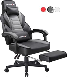 Gaming Chair Racing Style Office Ergonomic Chair High-Back PU Leather Design PC Computer Gaming Chair Adjustable Height Swivel Chair with Footrest, Headrest and Lumbar Support (Grey)