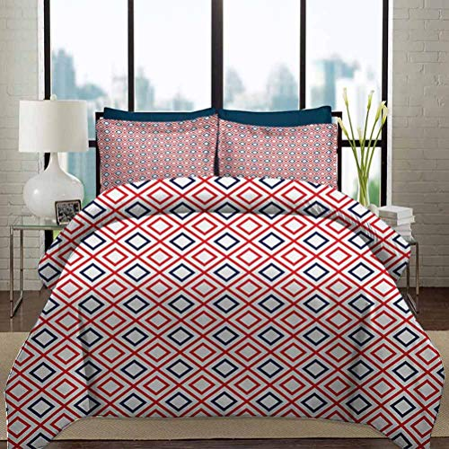 Geometric Bedding Duvet Cover Set Queen Size Modern Design Red and Navy Color Diamond Line Pattern Simple Fashion Decorative 3 Piece Bedding Set with 2 Pillow Shams for Kids Navy Blue Red and White