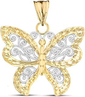 Elegant 10k Two-Tone Yellow Gold Filigree & Sparkle-Cut Butterfly Charm Pendant