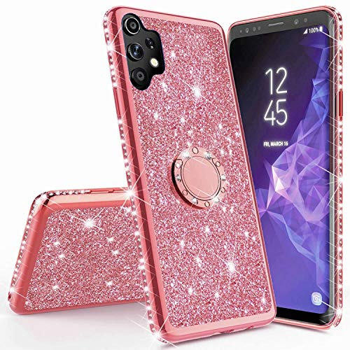 Miagon Hülle Glitzer für Samsung Galaxy A32 5G,Glänzend Mädchen Frauen Weich Silikon Handyhülle mit Strass Diamant 360 Grad Ständer Schutzhülle Etui Cover
