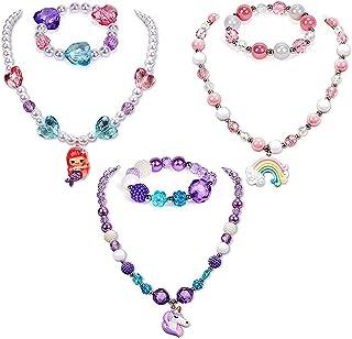 Collar de pulsera de unicornio de 6 piezas, pulseras unicornio para niñas, collar cuentas unicornio con colgante arcoíris ...