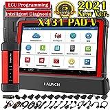 LAUNCH X431 PAD V Automotive Scan Tool, All-in-One Diagnostics & Services,All System Diagnostics Tool,J2534 ECU Programming, Bi-Directional Control, 50+ Services + SmartLink Box