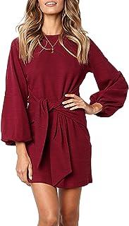 Walant - Abito da donna, con scollo tondo, in cotone, a maniche lunghe, elegante, casual, chic, stretto, lavorato a maglia...
