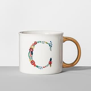 Opalhouse Monogrammed Porcelain Floral Mug 16oz White/Gold (C)