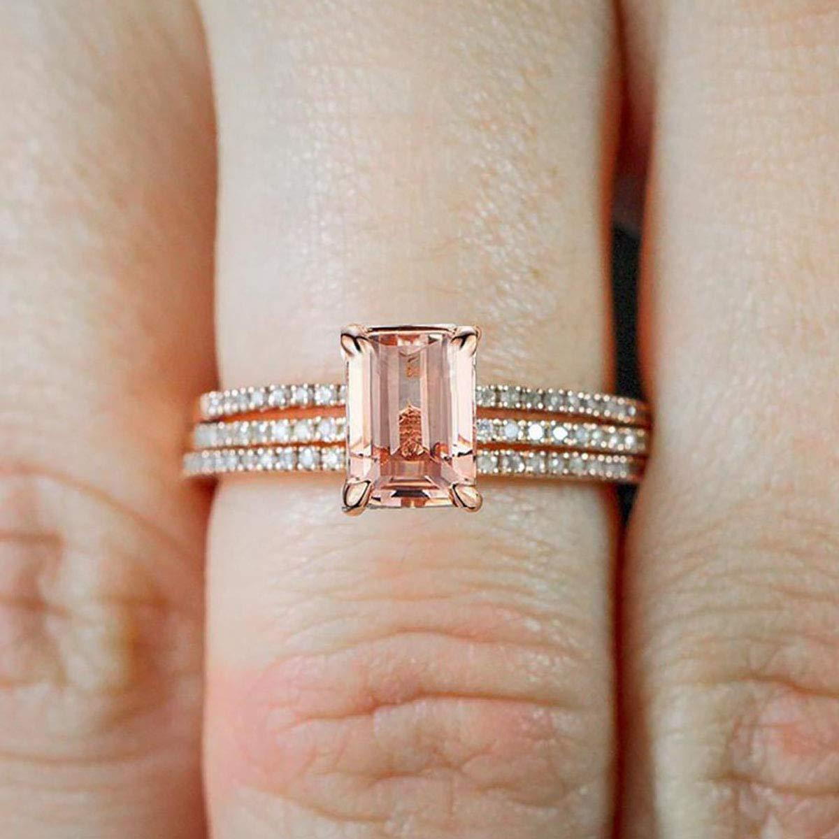 2.50 carat Morganite and Diamond Trio Max 66% OFF 10k Set Gold Rose OFFicial shop Ring 1
