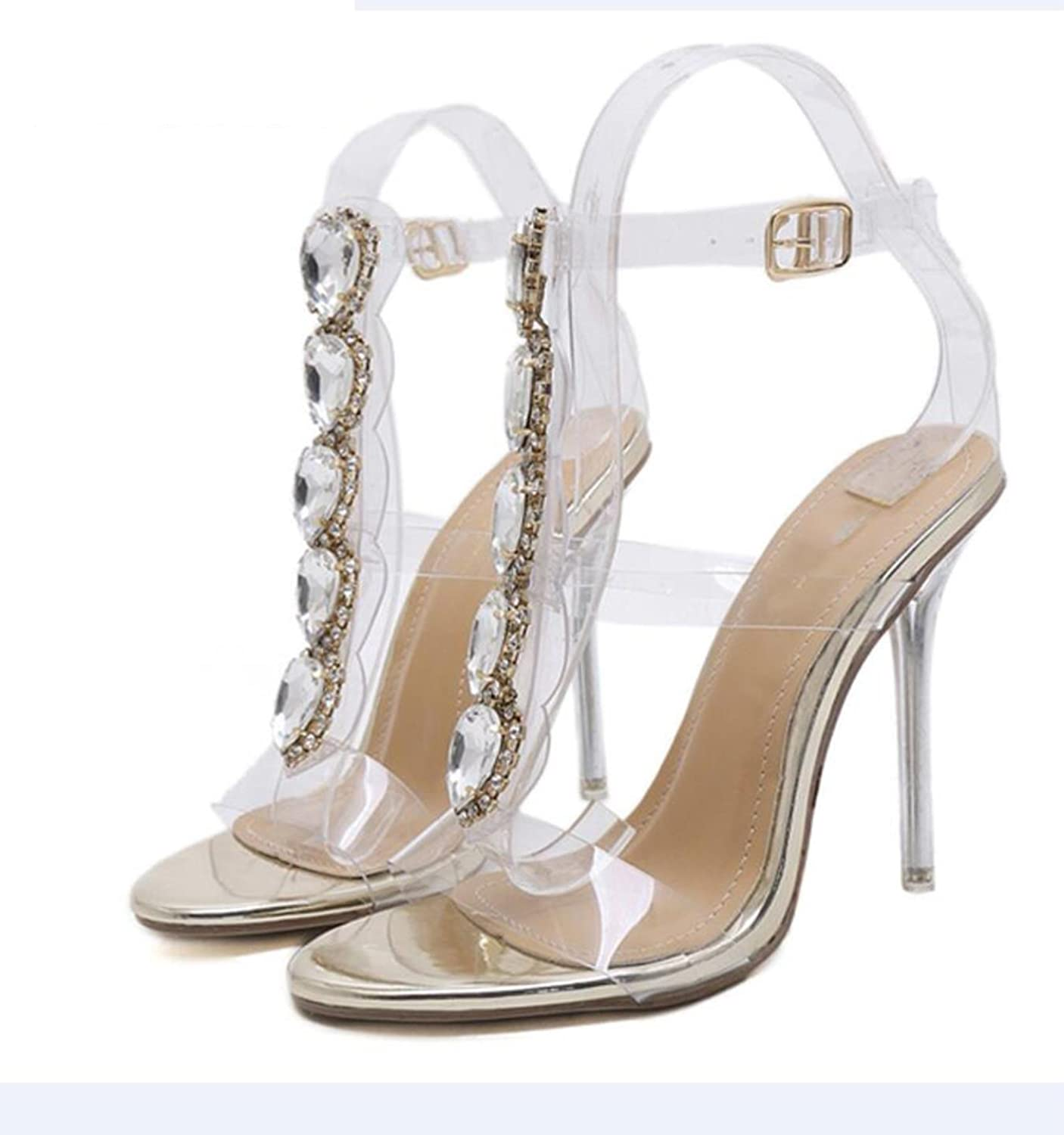 New Summer PVC High Heels Party shoes Fashion Crystal Sandals Elegant Woman Clear Rome T-strap shoes