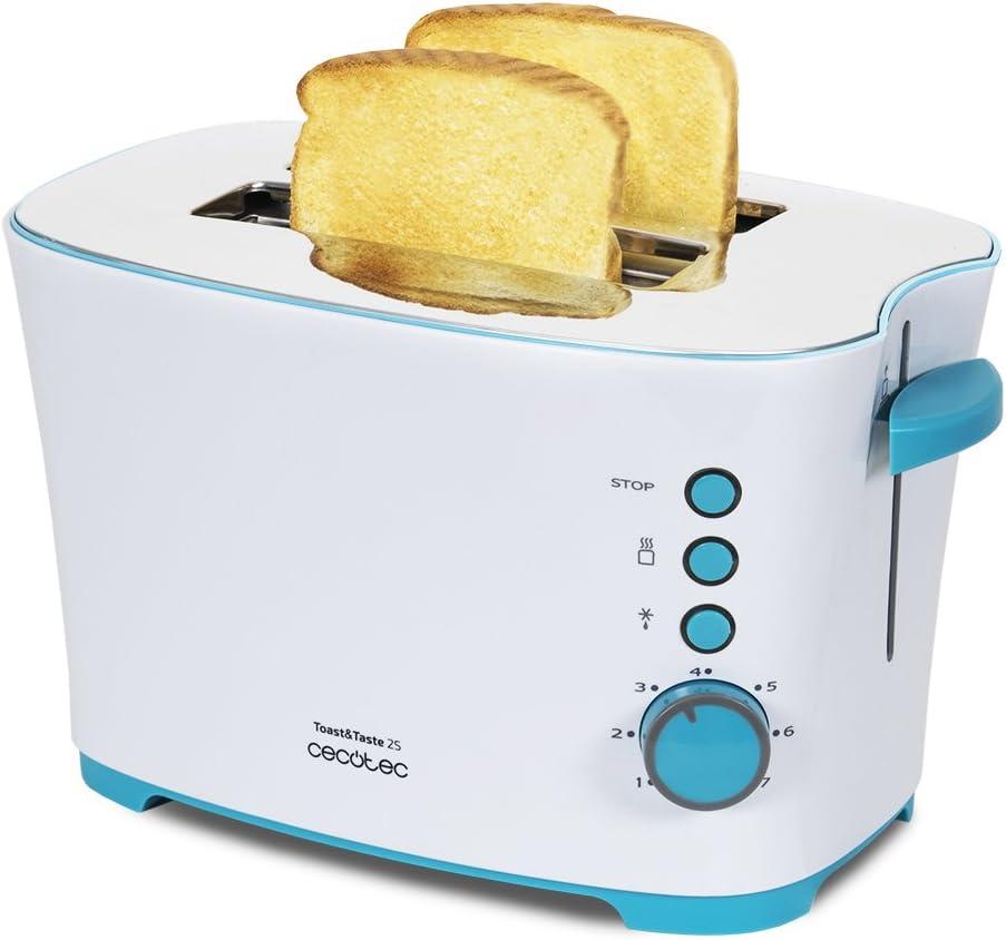 Cecotec Tostadora Vertical Toast&Taste 2S. 650 W, 7 Niveles de Potencia, Capacidad para 2 Tostadas, 3 Funciones (Tostar, Recalentar, Descongelar), Incluye Pinzas, Bandeja Recogemigas