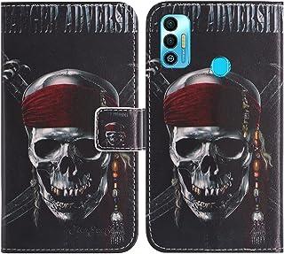 "حافظة TienJueShi Skull Fashion Stand TPU Silicone Book Stand Flip PU Leather حافظة الهاتف لـ Tecno Spark 7T 6.5"" Cover Etu..."