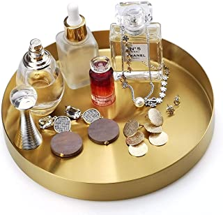 FREELOVE Gold Serving Tray, 8 in. Round Tray Stainless Steel Platter Bathroom Sink Vanity Trays Cosmetics Jewelry Organize...