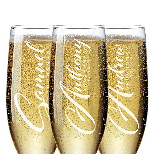 Bridal Party Gifts for Groomsmen 'Personalized Groomsman Champagne Flutes' Bachelorette Party Favors Bridal Party Groomsman Gifts for Wedding Set of 6 to 1#D21