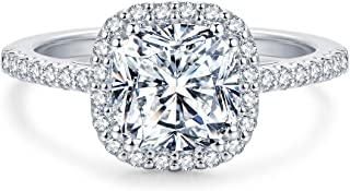 2.5ct Cushion Cut Petite Micropave Floating Halo Simulated Diamond CZ Engagement Rings Women