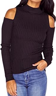 Women's Casual Autumn Cold Shoulder Sweater Kitted Pullover Jumper top