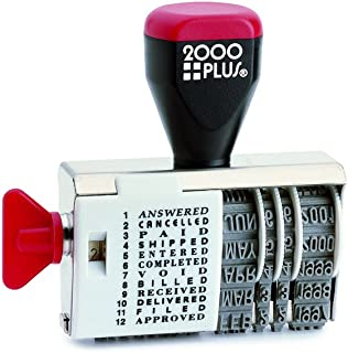 2000 PLUS Traditional Date and 12 Phrase Stamp, Answered, Cancelled, Paid, Shipped, Entered, Completed, Void, Billed, Received, Delivered, Filed, Approved, 3/8