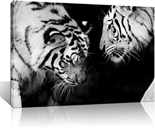 Artsbay Black and White Tiger Canvas Wall Art Wild Animal Picture Prints on Canvas Wildlife Paintings Poster Artwork for L...