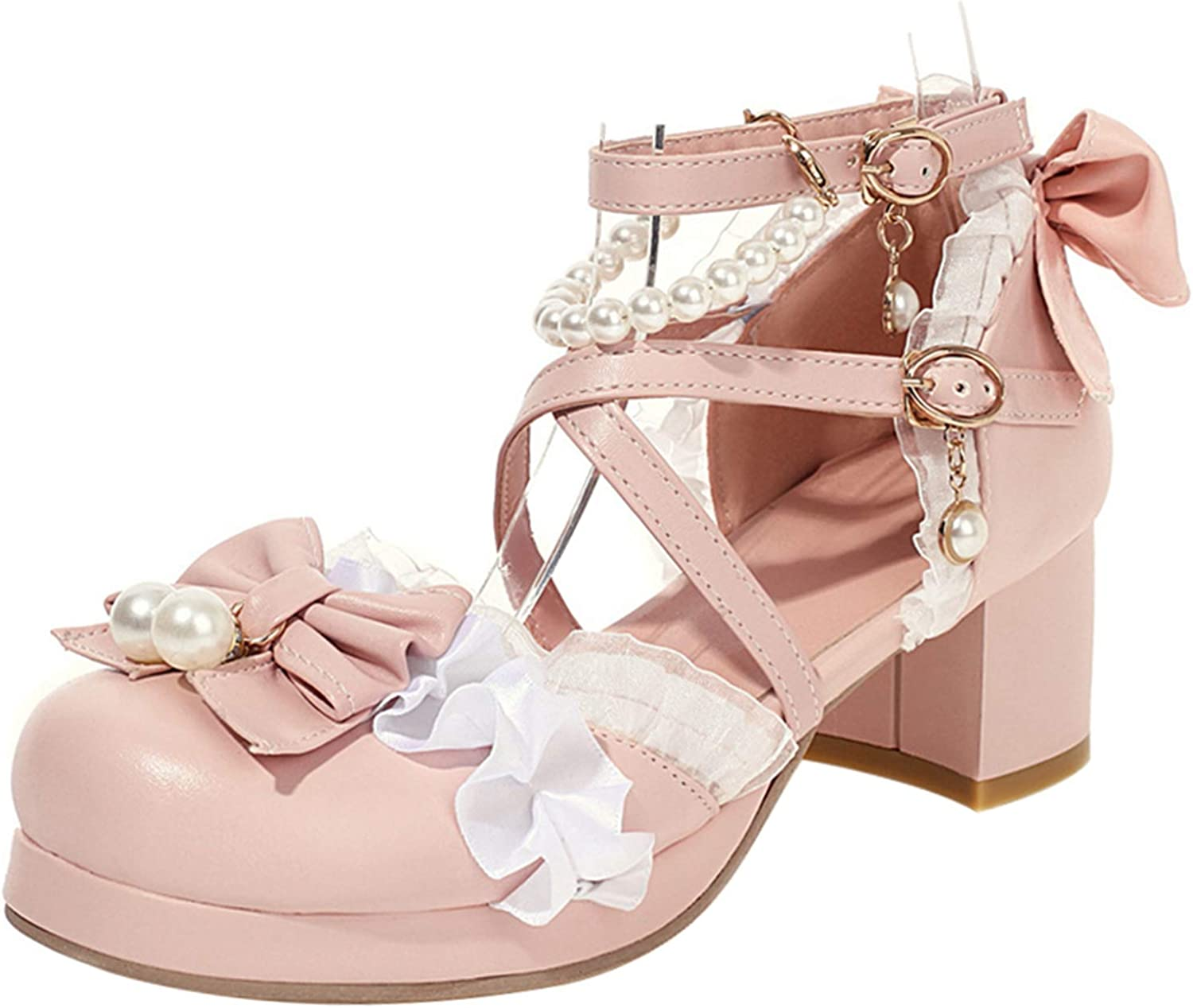 FitWee Women Block Heel Platform Sandals With Bow Ankle Strap Lolita Shoes