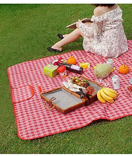 JUSTBUY Manta de picnic para exteriores, impermeable, 600D, multifuncional, resistente al agua, con asa de transporte, plegable, ligera, para camping, senderismo, viajes en la hierba