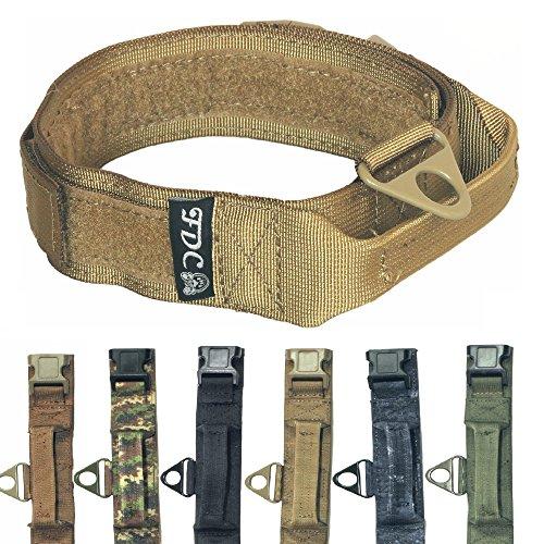 FDC Heavy Duty Military Army Tactical K9 Dog Collars Handle Hook & Loop Width 1.5in Plastic Buckle Medium Large (L: Neck 12' - 14', Coyote Desert TAN)