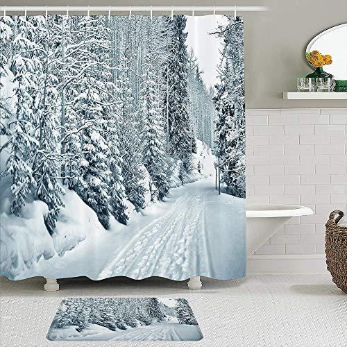 JISMUCI Duschvorhang, Ski-Themen Snowy Road Kalte Teile der Welt Fußabdrücke Colorado USA, 2-teiliges Set mit Haken wasserdichtes Badezimmerdekor aus Polyestergewebe