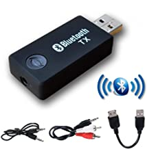 Bluetooth Transmitter,YETOR 3.5mm Portable Stereo Audio Wireless Bluetooth Transmitter for TV,Bluetooth for pc, MP3/MP4,2 Devices Pair Simultaneously (TX9)