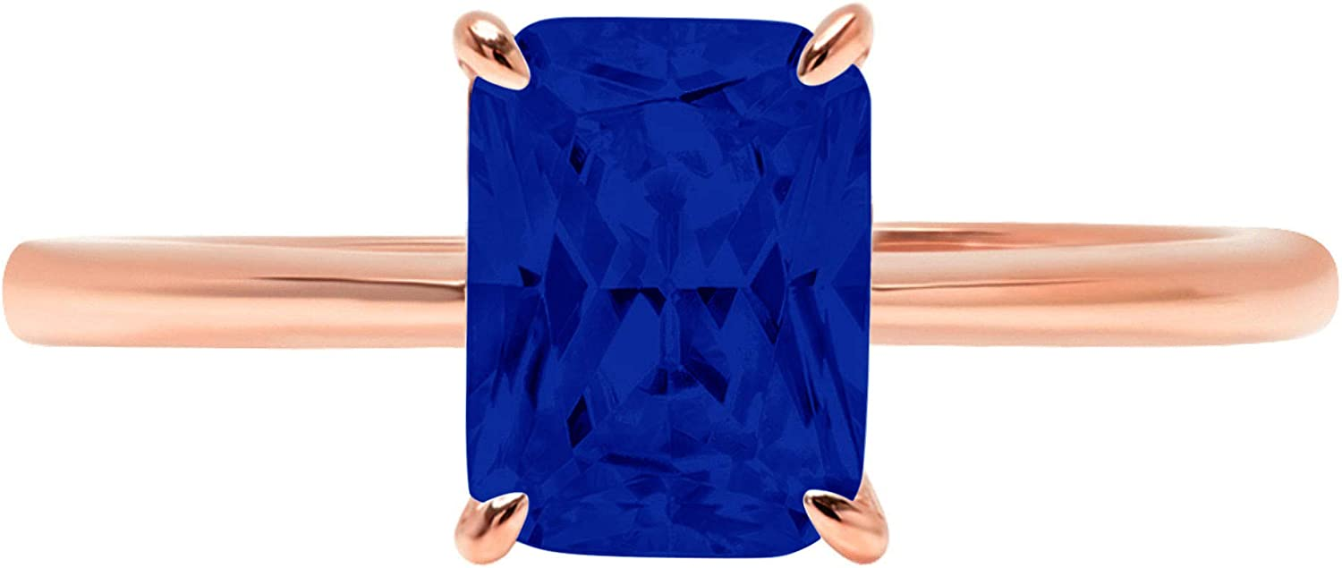 2.5ct Brilliant Radiant Cut Solitaire Flawless Simulated Blue Sapphire Ideal 4-Prong Engagement Wedding Bridal Promise Anniversary Designer Ring Solid 14k Rose Gold for Women